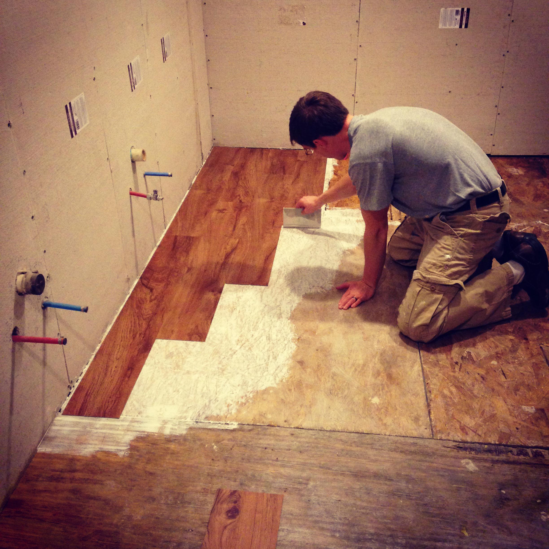 starting master bath vinyl flooring
